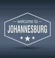 welcome to Johannesburg hexagonal white vintage vector image