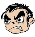 angry boy head vector image vector image