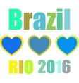 Abstract love heart ribbon flag Brazil Rio 2015 vector image