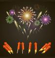 firework rocket set art cover vector image