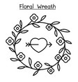 floral wreath icon set in thin line style vector image