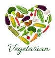 I love vegetarian life symbol of heart vegetables vector image