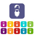 male avatar with beard icons set vector image