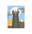 medieval fantasy castle in mountains landscape vector image