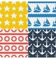 Nautical seamless patterns set in flat design vector image