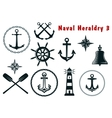 Naval heraldry icons set vector image
