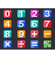 numbers and math long shadow icons set vector image