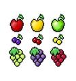 pixel fruits set vector image
