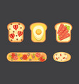 set toasts and sandwich breakfast bread toast vector image