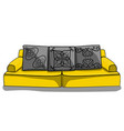 large yellow low sofa with gray pillows in vector image