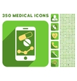Pharmacy Mobile Chart Icon and Medical Longshadow vector image