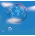 planet earth in the bubble in the sky vector image