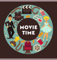 retro cinema movie time poster flat vector image