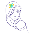 Silhouette of beautiful girl silhouette vector image