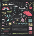 Vintage Chalkboard Design Elements Hand Drawn Set vector image