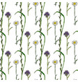 watercolor seamless pattern with wild flowers vector image