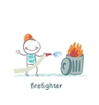 firefighter puts out the trash vector image vector image