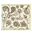 Doodle floral design elements set vector image