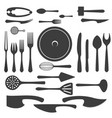 cutlery black silhouettes vector image