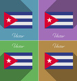 Flags Cuba Set of colors flat design and long vector image