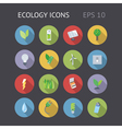 Flat icons for ecology energy and nature vector image