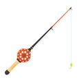 flat style winter fishing rod vector image