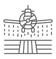 plane sprays pesticides thin line icon farming vector image