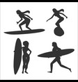 set of with woman surfers vector image