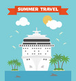 Summer travel flat background with ship vector image
