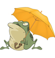 Frog with an umbrella Cartoon vector image vector image