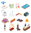 hotel service color icons set isometric view vector image
