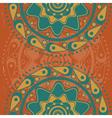 Turquoise ornament on orange background2 vector image