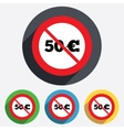 No 50 Euro sign icon EUR currency symbol vector image