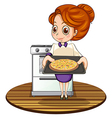 A lady cooking a pizza vector image
