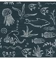 Sealife hand drawn seamless pattern vector image