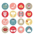 Cute flat wedding icons set for web mobile vector image