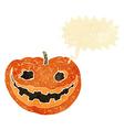 cartoon spooky pumpkin with speech bubble vector image