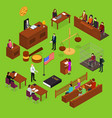 court session concept 3d isometric view vector image