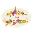 Food banner with meal wine desserts vector image