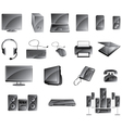 Media Icon Set Glossy Gray Color vector image