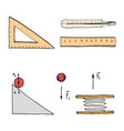 ruler and thermometer circuit and graph engraved vector image