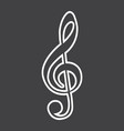 treble clef line icon music and instrument vector image