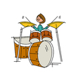 Close-up of boy playing with drum vector image vector image