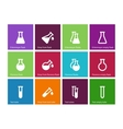 Chemical laboratory flask icons on color vector image