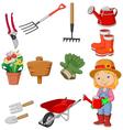 Cartoon women holding watering gardening tool vector image vector image