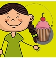 girl cup cake bakery vector image