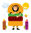 happy hipster man in hamburger flat style vector image
