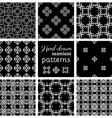 Set of nine seamless geometric patterns vector image