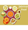Healthy lunch with pie icon for food theme design vector image