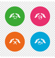 hands insurance icons travel trip flights vector image
